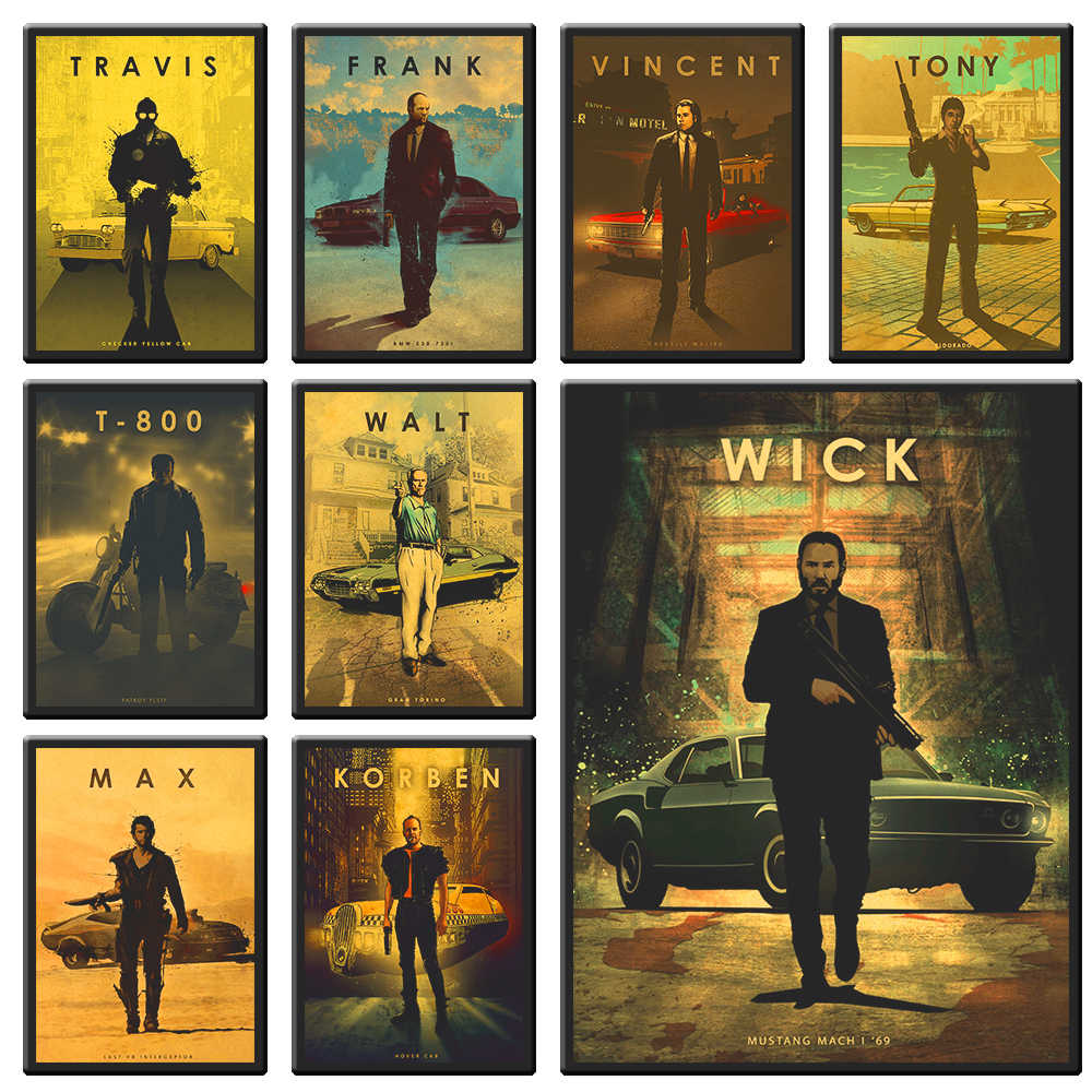 Various movie protagonist man and car movie poster kraft paper poster retro poster wall sticker decorative painting