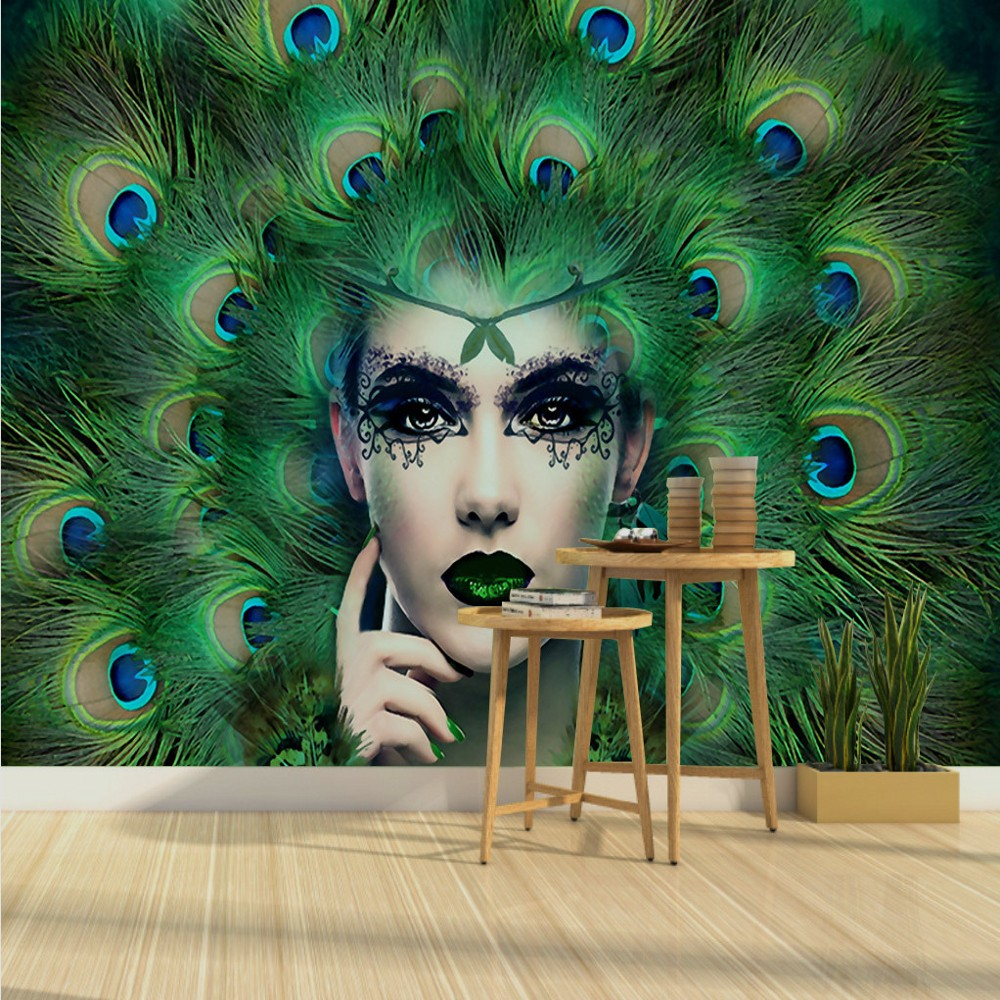 Drop Shipping Free Shipping Custom 3d Modern Art Beauty Peacock Feather Wall   Painting Decorative Wallpaper Hot Sexy Lady Mural