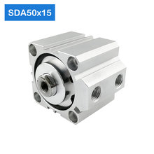 SDA50*15, 50mm Bore 15mm Stroke Compact Air Cylinders SDA50X15 Dual Action Air Pneumatic Cylinder