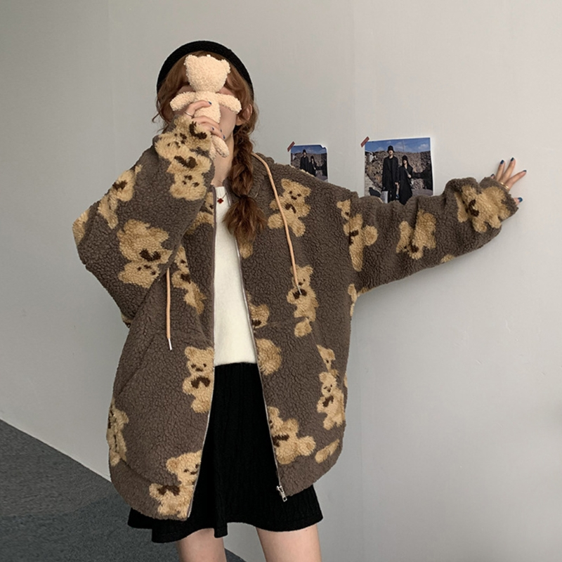 Women Winter Fuzzy Plush Hoodie Jacket Cute Cartoon Bear Print Shaggy Oversized Coat Harajuku Long Sleeve Warm Zip Up with