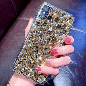 Image 2 - מקרה טלפון בלינג קריסטל יהלומי ריינסטון 3D צבעוני אבנים חזרה כיסוי עבור iphone 11 12 מיני Pro Max XR X 7 8 בתוספת 6 6s בתוספת