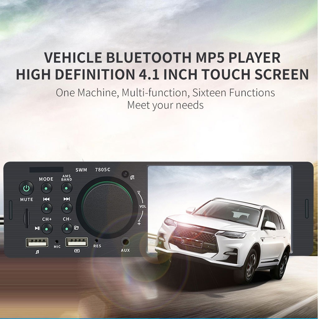 AMPrime Autoradio 4022D 4.1 1 Din Car Radio Audio Stereo USB AUX FM Audio Player Radio Station With Remote Control Car Audio image