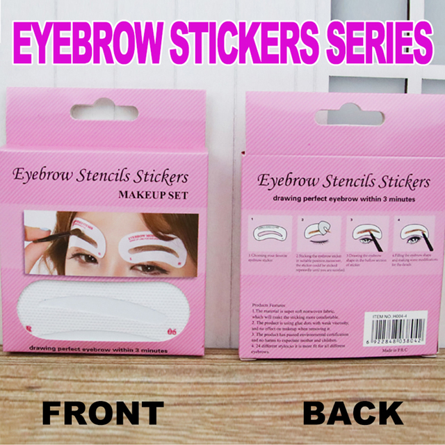 12/24 Pairs Disposable Eyebrow Stencil Grooming Shaper Template Makeup Tools Stickers  Card Women Fashion Makeup Tools 5