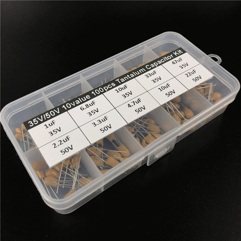 10values 100pcs 35V/<font><b>50V</b></font> 1uF 2.2uF 3.3uF 4.7uF 6.8uF <font><b>10uF</b></font> 22uF 33uF 47uF tantalum capacitor assorted kit with storage box image