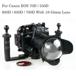 130FT/40M Underwater Depth Diving Case For Canon 70D 550D 600D 650D 700D 18-135mm Lens Waterproof Camera Housing Cover Box