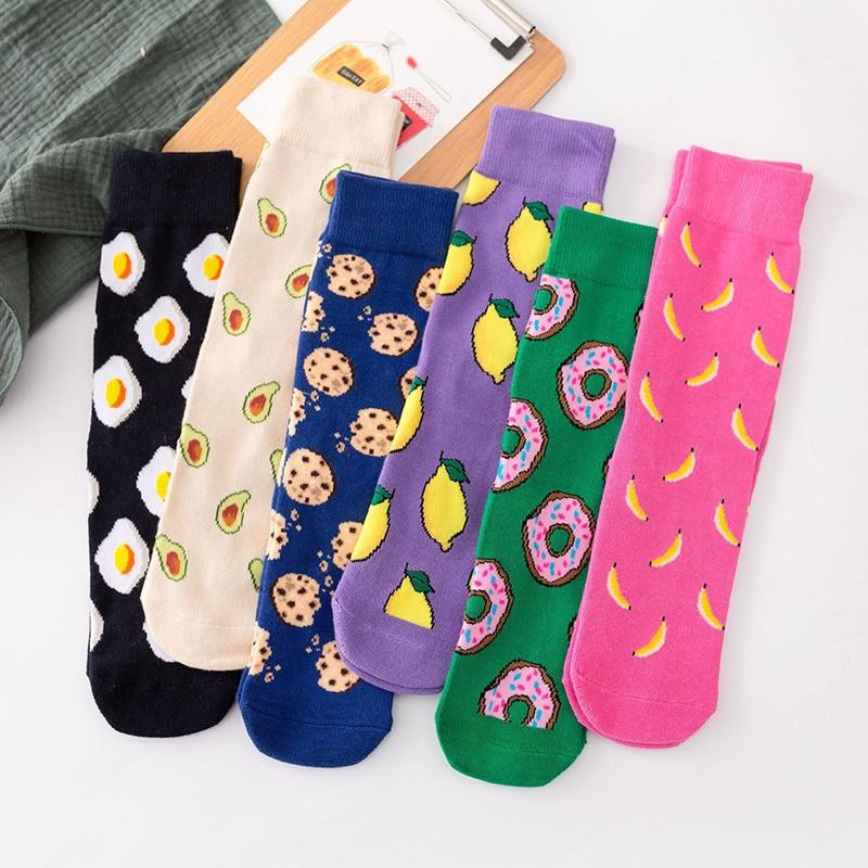Chaussettes en coton pour femmes, 1 paire, drôles et mignonnes, dessin animé, Fruits, banane, avocat, citron, œuf, Harajuku japonais, Hip Hop