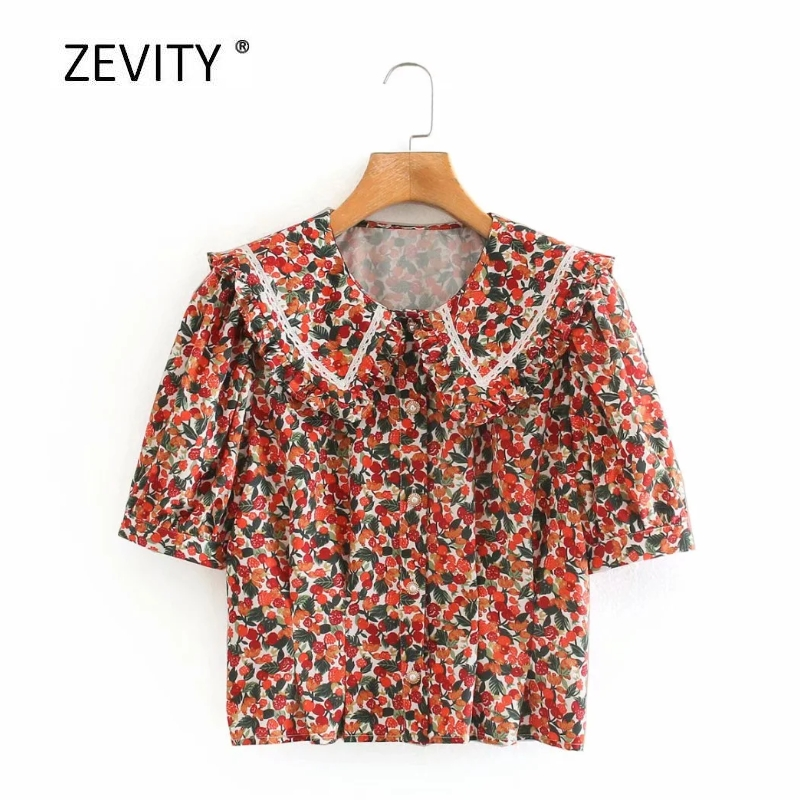 Supply Zevity New 2020 Women Sweet Peter Pan Collar Flower Print Smock Blouse Ladies Chic Puff Sleeve Casual Shirt Feminina Tops Ls6833 Delicacies Loved By All