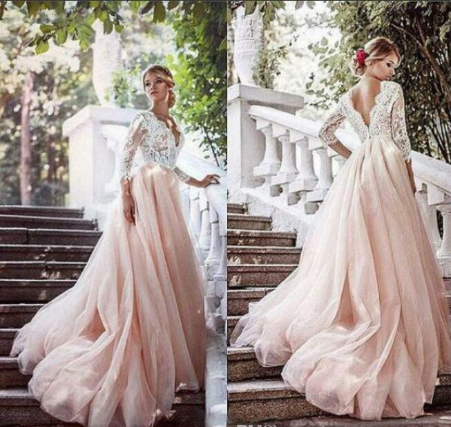 2020 Newest Blush Pink Country Wedding Dresses With Sleeves Deep V Neck Illusion Top Lace Appliques Colored Tulle Skirt Bridal