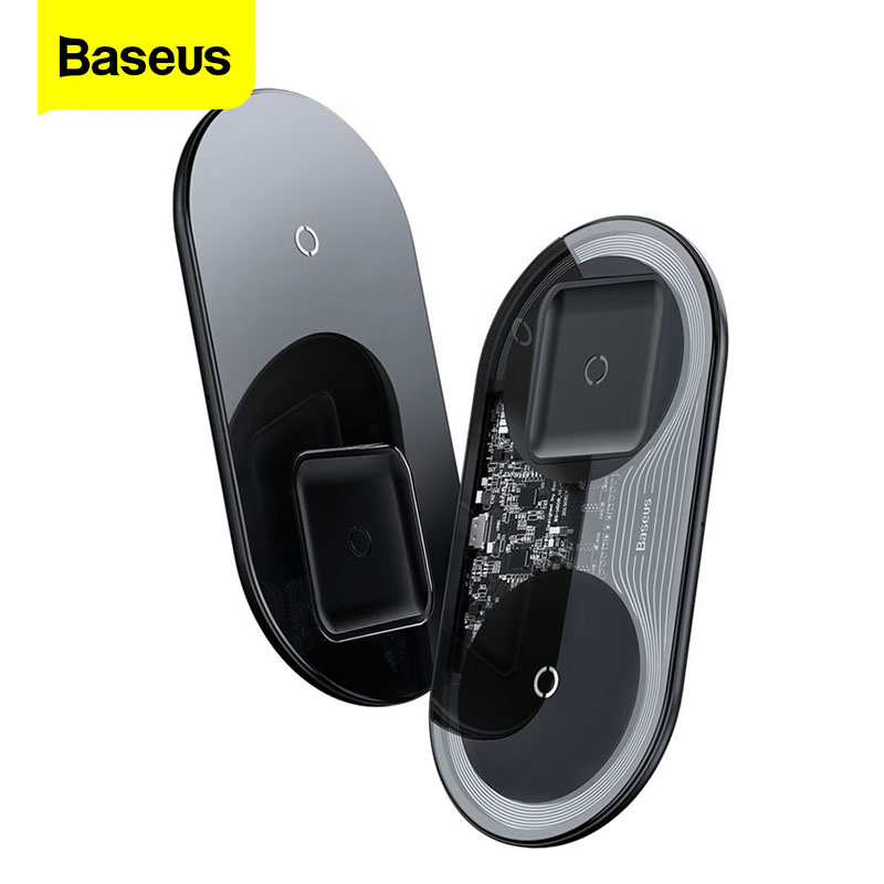 Baseus 2 In 1 Qi Wireless Charger For Airpods Pro IPhone 11 Pro MAX 15W Dual Induction Wireless Charging Pad For Samsung Xiaomi