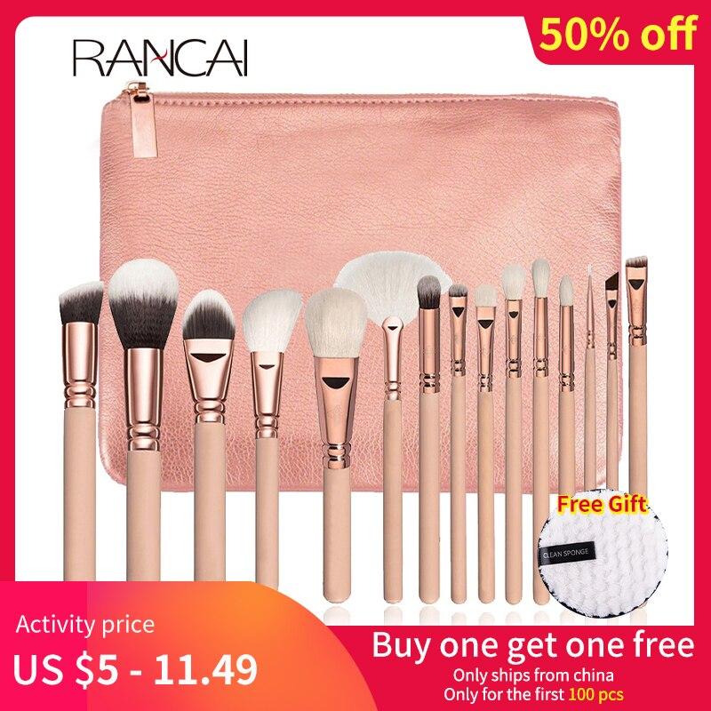 RANCAI Cosmetics Makeup Brushes Set 10/15pcs Complete Kit Powder Eyebrochas Eyeshadow Brush High Quality Makeup Brushes