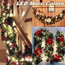 Рождественская светодиодная гирлянда из ротанга с бантами 27