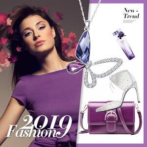 Image 5 - Cdyle collar de plata de ley 925 con colgante de mariposa y circón, joyería fina, Cristal púrpura
