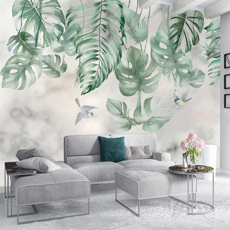 Custom 3D Wallpaper Waterproof Self-adhesive Mural Retro Hand Painted Abstract Leaves Living Room Sofa TV Background Wall Decals