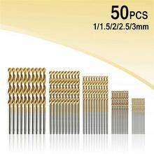 цена на 50PCS High Speed Steel Twist Drill 1.0/1.5/2.0/2.5/3.0mm Titanium Coated HSS Drill Woodworking Hand Tools Drill Bit Set