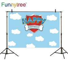 Funnytree التصوير استحمام الطفل الكلب خلفية السماء الزرقاء 1st عيد ميلاد صور خلفية حفلة فوتوزون Photophone