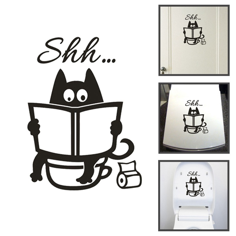 Creative Funny Shh... Toilet Wall Sticker For Bathroom Door Decoration Vinyl Home Decals Waterproof Removable Stickers