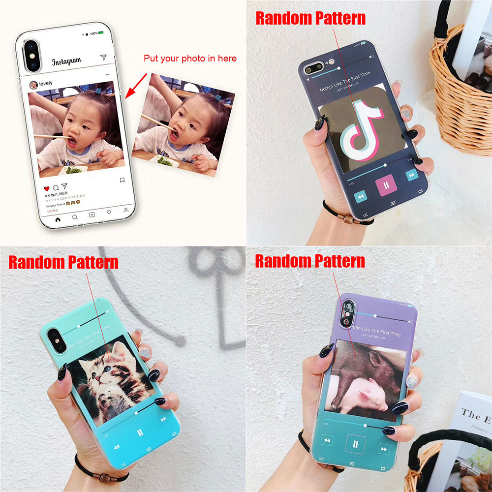 DIY Photo Card Slot TPU Phone Case For iPhone X 7 8 6 6S Plus 8Plus