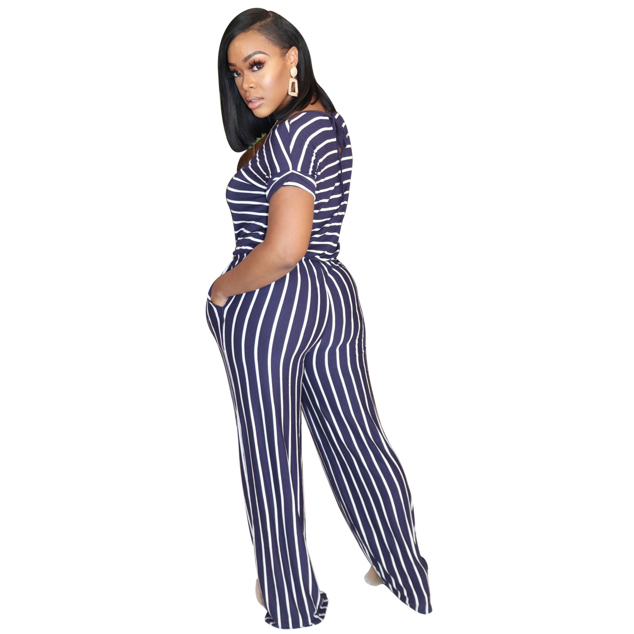 Hcec971f18f5f46f69e4468a0074eb9930 - Fashion Women Stripes Jumpsuits Summer New Arrival Short Sleeves Crew Neck Women Casual Rompers Loose Daily Wear Outfits