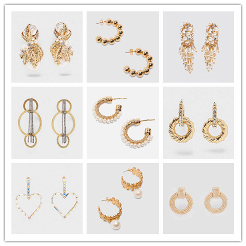 Dvacaman Drop-Earrings Statement Jewelry Pearl Gold Women for Big Circle-Za Gift Simulated