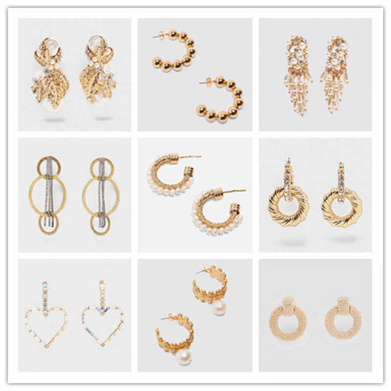 Dvacaman New Gold Simulated Pearl Drop Earrings For Women Big Circle ZA Dangle Earrings 2019 Shell Female Statement Jewelry Gift