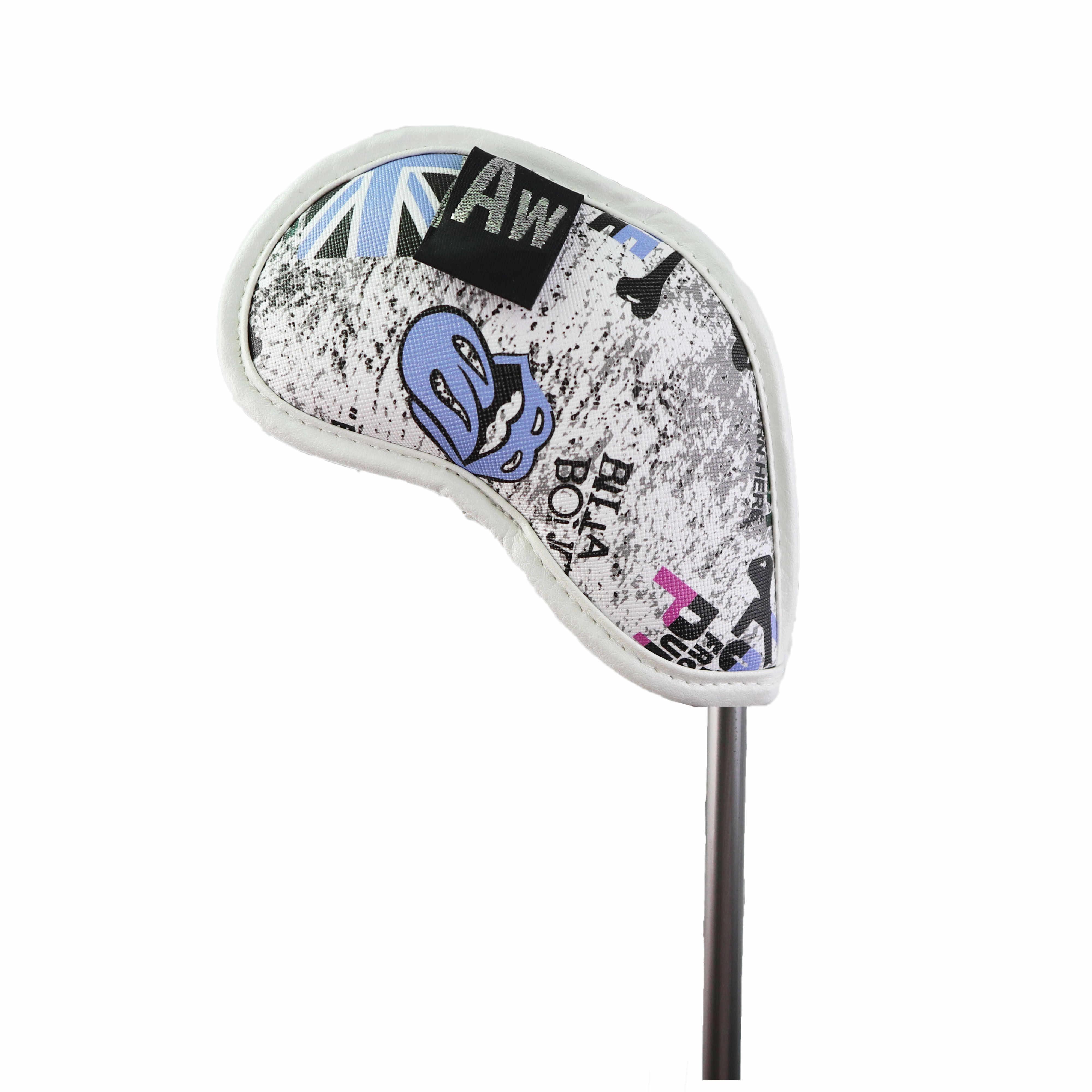 Утюжок для гольфа NRC 10 шт., головной убор с британским флагом, череп с бирками с номерами, толстая искусственная кожа, железный клубный головной убор