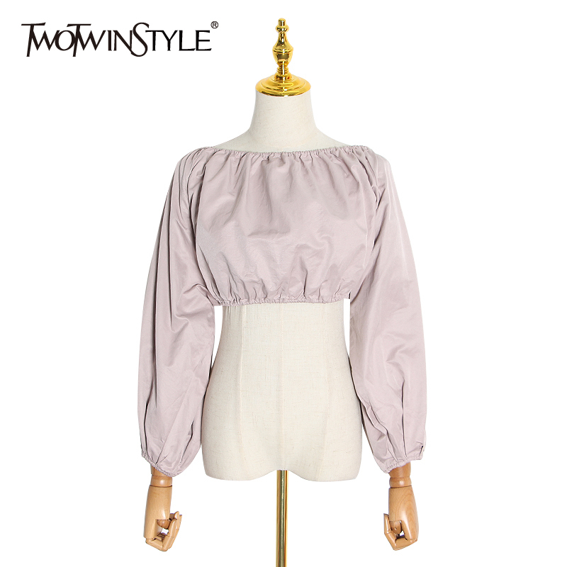 TWOTWINSTYLE Sexy Backless Short Shirt Women Slash Neck Lantern Long Sleeve Tunic Ruched Blouse Female Fashion Clothing 2020 New