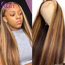 Przezroczyste peruki typu Lace Front kolorowe peruki 4 27 100% dziewicze włosy peruki malezyjski prosto koronkowa peruka na przód dla kobiet Atari