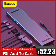 Baseus USB סוג C רכזת 3.0 USB HDMI RJ45 USB HUB עבור MacBook Pro אביזרי USB ספליטר רב 11 יציאות סוג C רכזת USB C רכזת