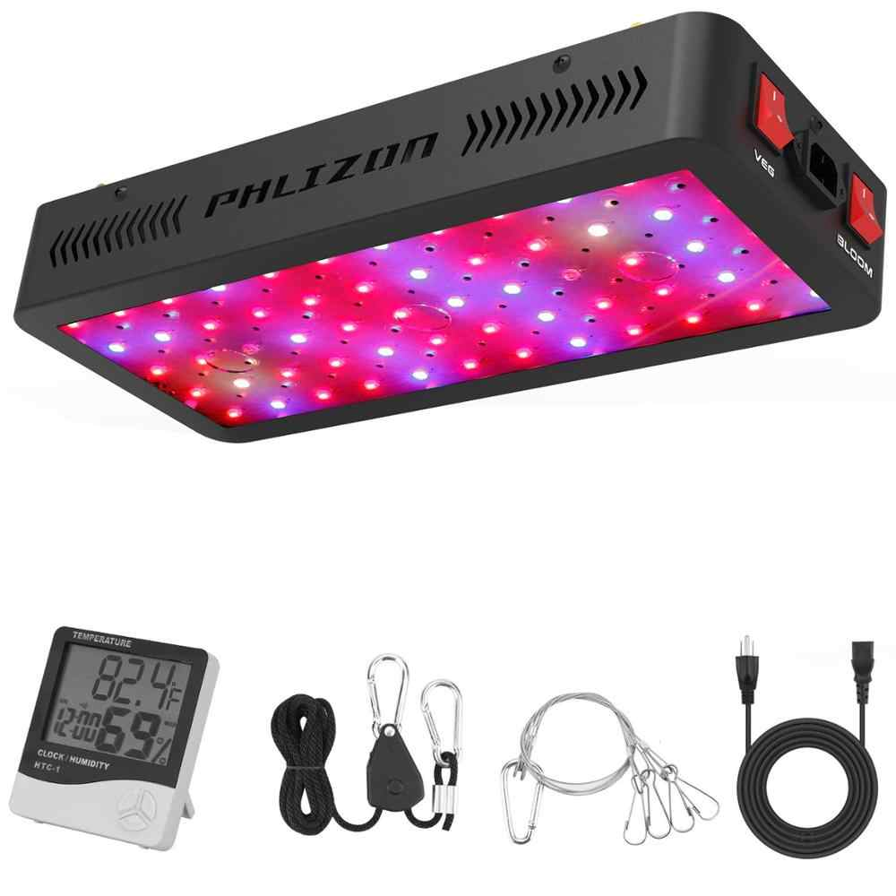Phlizon LED Grow Light 600 W 900 W 1200 W Full Spectrum Double Switch untuk Rumah Kaca Hidroponik Tanaman Indoor Sayuran dan Bunga