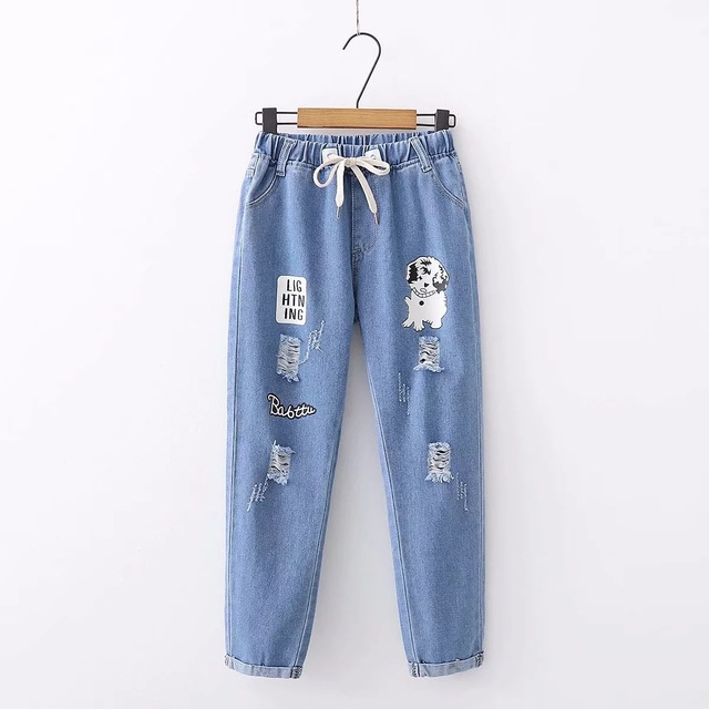 Casual Short Loose Dog Patterned Jeans