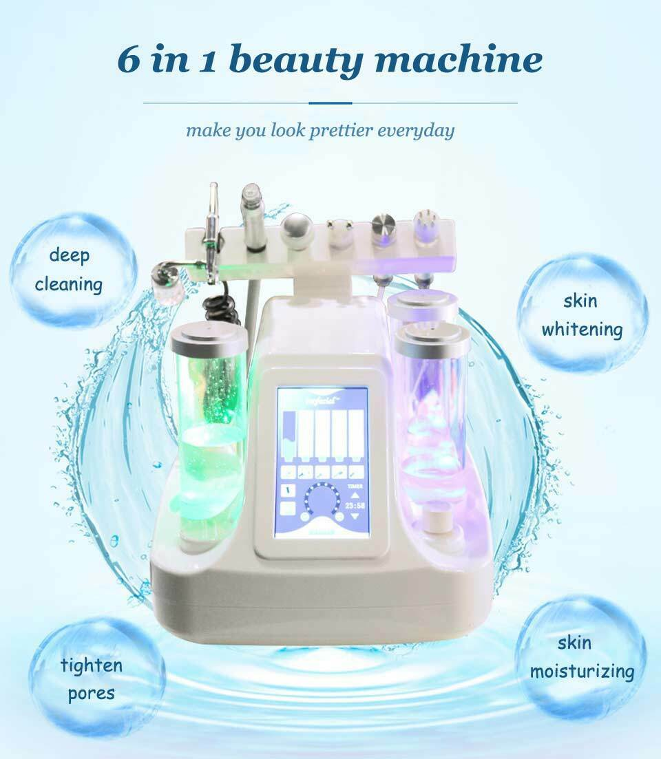 6 IN 1 Small Bubble Oxygen & Water Jet Peel Hydrafacial Machine Vacuum Face Cleaning  Blackhead Acne Dermabrasion Equipment