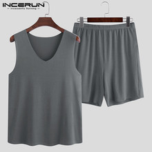2020 Men Pajamas Sets Solid Sleeveless V Neck Sleepwear Soft