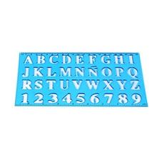 1 pc plástico alfabeto & número desenho régua oco modelo estêncil ferramenta de aprendizagem para crianças estudantes escola material de escritório