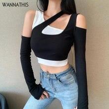 WannaThis-Conjunto de dos piezas para mujer, Top corto de otoño, camiseta de manga larga con hombros descubiertos y Tops de un solo hombro, camisola sin mangas