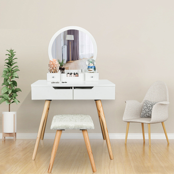 Dresser Dressing Table Solid Wood with Single Round Mirror 4 Drawers Stool White 80x40x74CM[US-Stock] 1