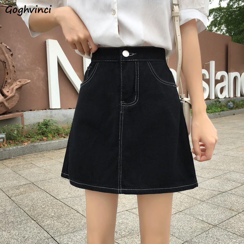 Skirts Women Black Solid Simple All Match Females Hot Sale High Waist Skirt Womens Comfortable Harajuku Students Leisure Elegant