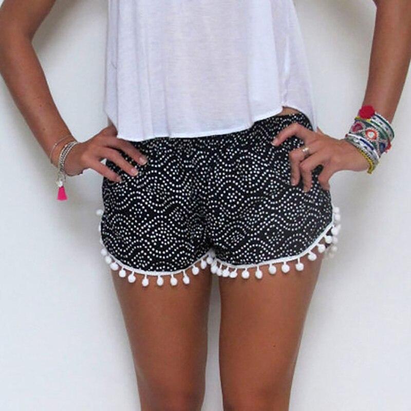 Hot Lady's Sexy Summer Casual Shorts Women High Waist Short Beach Tassel Trim Print  Shorts шорты женские