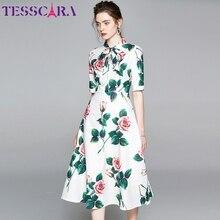 TESSCARA mujeres verano elegante vestido Floral Festa alta calidad traje para fiesta de boda Femme Vintage Bow diseñador gasa Vestidos