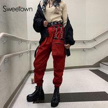 Sweetown-Pantalones elásticos de cintura alta para mujer, a la moda ropa de calle, Punk, gótico, holgado, Cargo, novedad de 2020