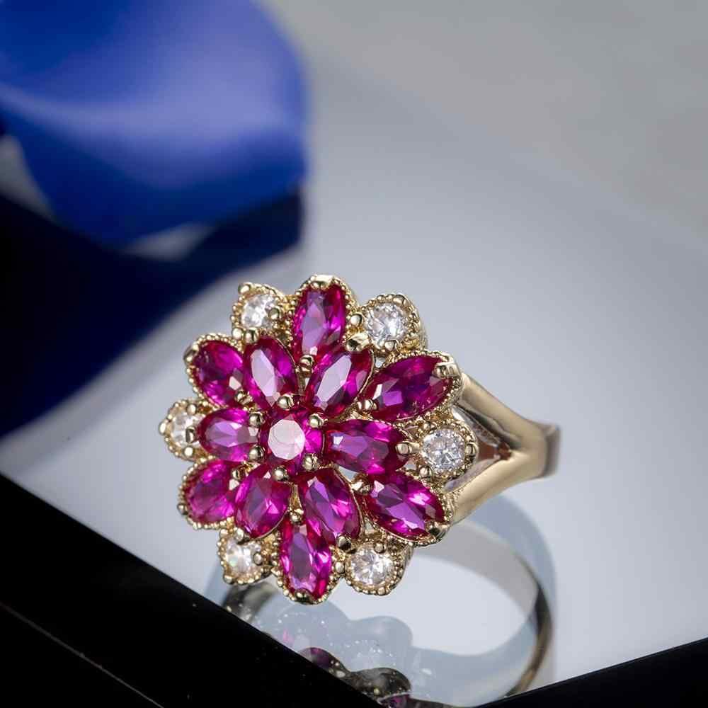 หญิงหรูหราแหวนดอกไม้ขนาดใหญ่แฟชั่น 2019 ใหม่แหวนแต่งงานแหวนคริสตัล Rose Gold หมั้นแหวน