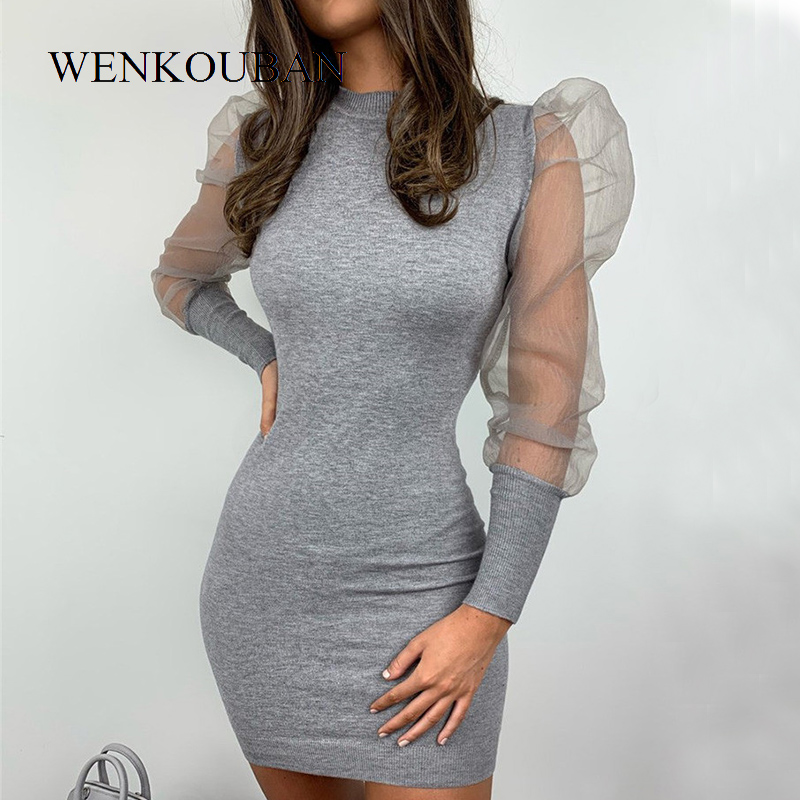 Fashion Bodycon Mini Dess Women Black Mesh Long Sleeve Sheer Bodycon Dresses Ladies Party Elegant O-neck Dress Vestidos Mujer