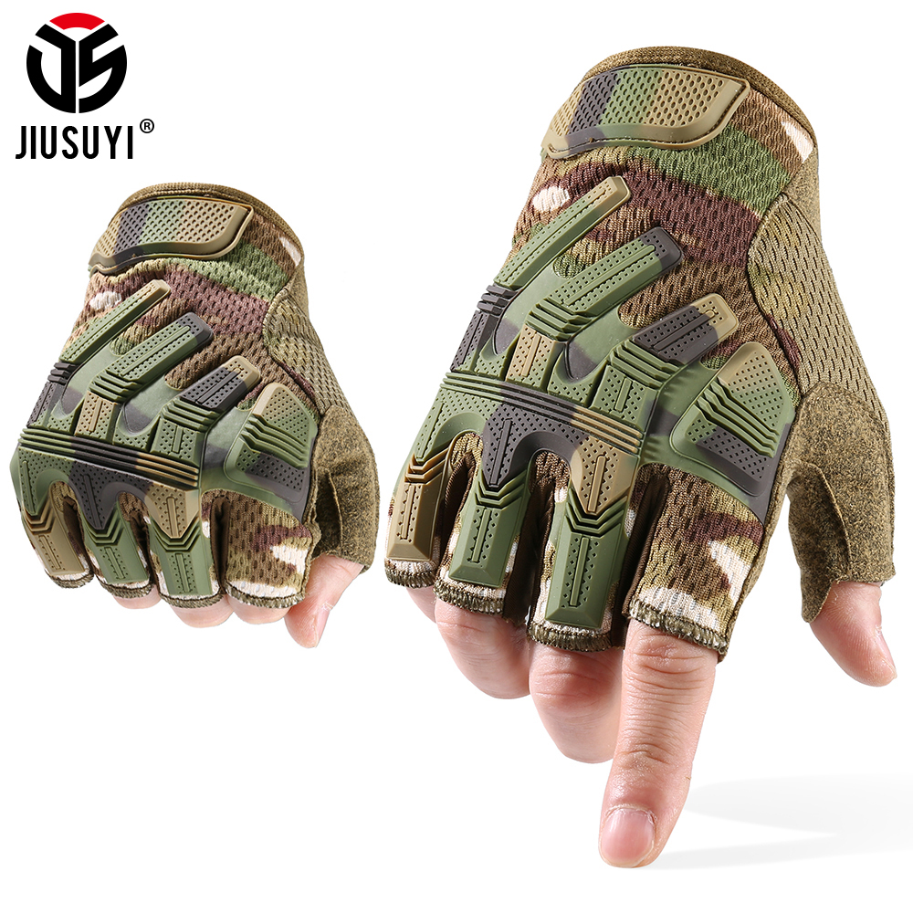 JIUSUYI Half Finger Gloves Tactical Army Military Mittens Fingerless SWAT Camo Glove Paintball Shooting Cycling Driving Men 2020