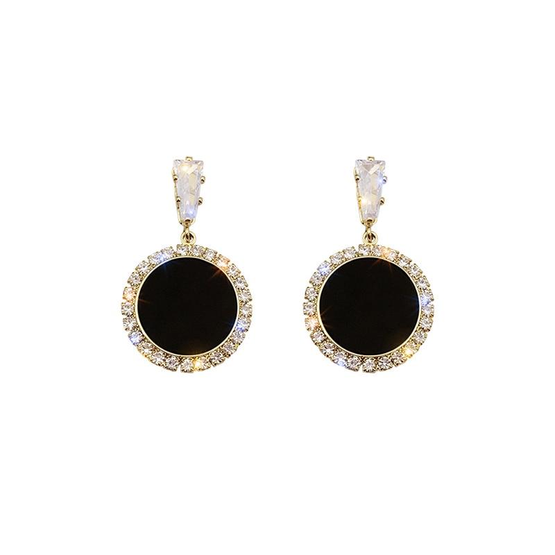 Round rhinestone earrings 2020 new wave Korean version personality temperament wild simple earrings Fashion Simple ear nail