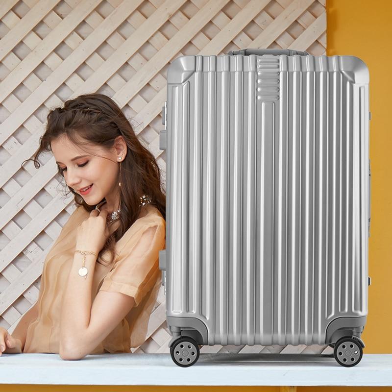 Super moda nueva maleta de viaje maleta de negocios caja de la carretilla En la rueda de aluminio marco duro maleta silenciosa - 6