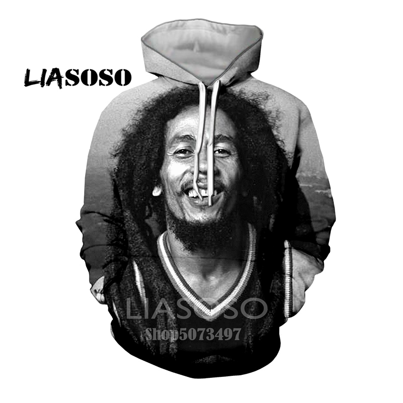 3D Print Men Hoodie Sweater Sweatshirt Funny Rock Bob Marley Jacket Pullover Top