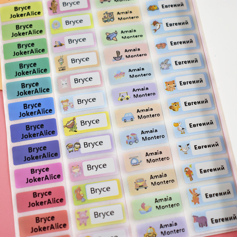 100 Pcs Cute Customize Label Name Sticker Waterproof Personalized Adhesive Sticker For Kids Girls School Stationery Tag Sticker