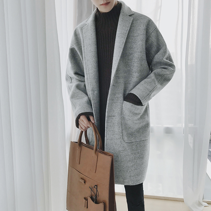 Image 3 - EWQ 2019 New Autumn Winter Men Wool Coat Casual Mid length Turn  down Collar Coats Fashion Overcoat Windbreaker Jackets HD563Wool