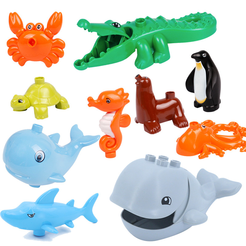 Big Size Diy Building Block Duplo City Ocean Park Animal Accessories Figures Crocodile Penguin Educational Toy For Children Gift