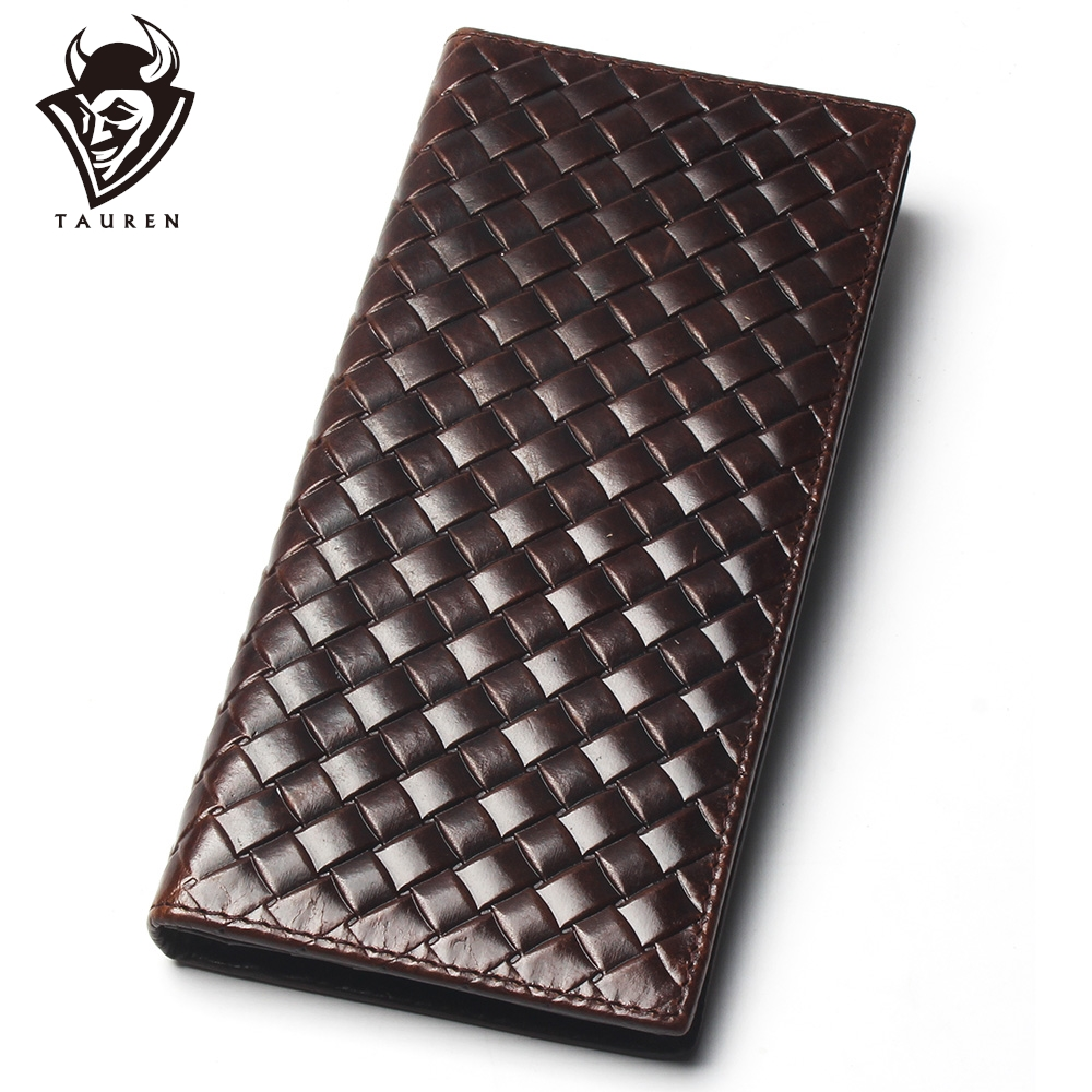 Mens Braided Wallet Oil Leather Crazy Horse 100% Genuine Leather Purse Top Grade Soft Long Wallet Branded Coin Purse For Men