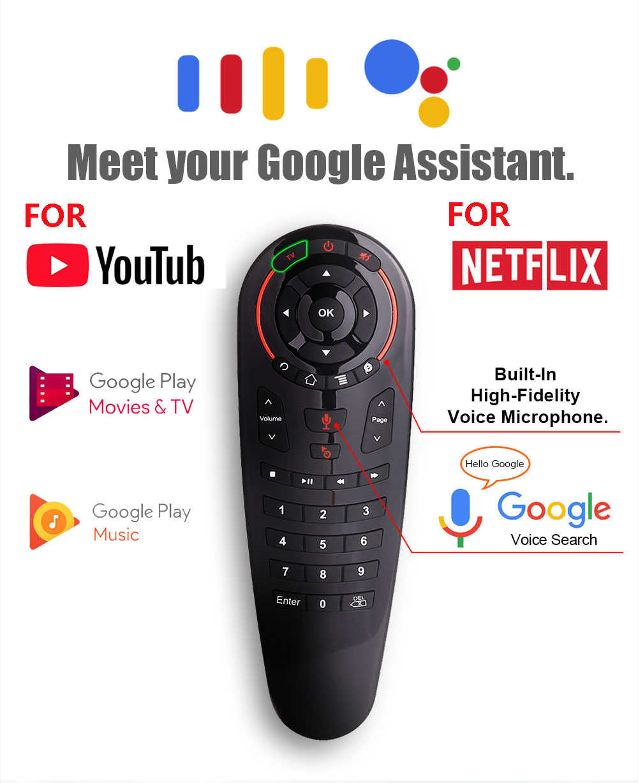 VONTAR G30 control remoto por voz ratón de aire Mini teclado inalámbrico con IR de aprendizaje para caja de TV Android PC